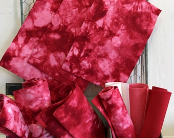 Hand Dyed Wool, Peppermint Crush, Pure Merino, NonWoven Fabric, Wool Applique, Tie Dye Felt