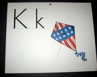 Vintage (1960s) Large Alphabet Classroom Flash Card  - K - Kite