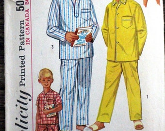 Vintage Simplicity #1434 sewing pattern - Boy's size 10 - pajamas in two lengths - 1960s