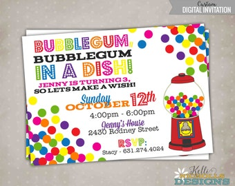 Gumball Birthday Invitation, BubbleGum Bubble Gum Machine, Custom Digital Invite #B122