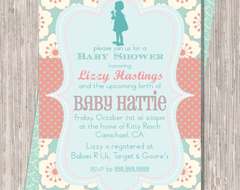 Coral Aqua Baby Shower Invite, Baby Girl Shower Invitation 5x7 printable JPG PDF