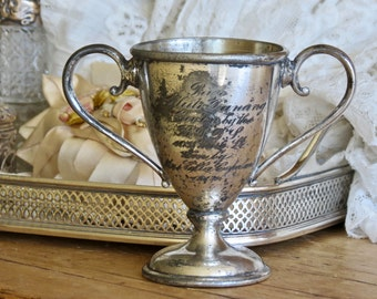Antique Shabby Chic Darling.......Silver Plate Petite Trophy