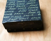 LOVE CONQUERS ALL Amor Vincit Omnia handpainted gift box