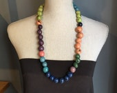 Tagua nut necklace mixed colors round beads long Ready to Ship