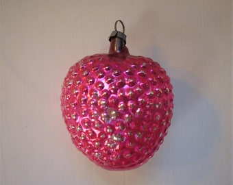 Vintage Glass Figural Bumpy Heart Christmas Tree Ornament Deep Pink Valentines Gift