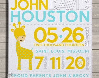 Birth announcement print on canvas adorable MOD giraffe birth announcement poster on wood frame