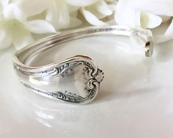 Silver Bracelet Cuff, 1908 QUEEN ELIZABETH, Silver Cuff Bracelet, Spoon Jewelry, Bracelet Cuff