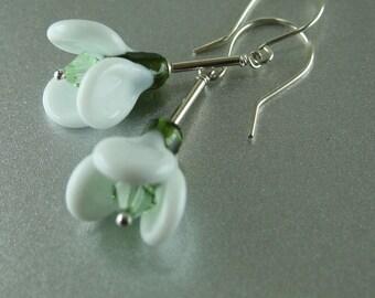 Snowdrops Handmade Lampwork Glass Drop Earrings Sterling Silver