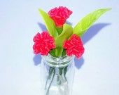 Miniature Polymer Clay Supplies Flowers Bouquet in Glass Vase, Carnation 1 pcs.