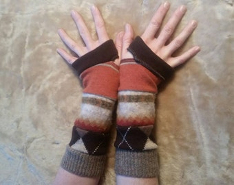 Autumn colors arm warmers fingerless gloves Christmas gift