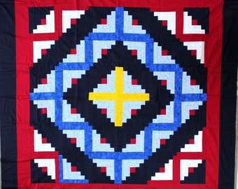 Amish styled Log Cabin QUILT TOP Bold Colorsfresh look Queen size Patchwork