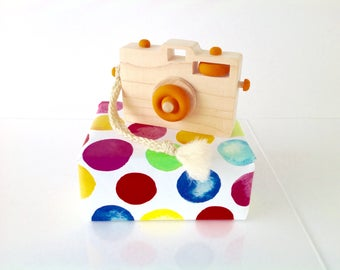 Wooden Toy Camera, Wood Camera, Toddler Toy, Handmade Toy, Baby Gift, Camera Prop, Orange