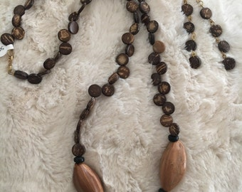 Long wood and seed necklace