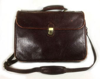 Vintage Maroon Leather Attache/Satchel, Original Carrying Strap, Original Accessories