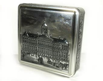 """Vintage Candy Tin, Silver and Black, """"Amsterdam"""", Amsterdam Palace, Made in Holland"""
