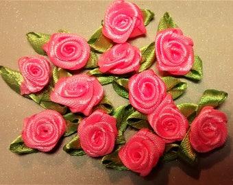 RR-104 Bright Salmon Pink Ribbon Roses