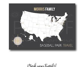 Baseball Park Push Pin Map, Ballpark Map, Ballparks Sports Map, Sports Push Pin Map, Baseball Map, Baseball Bucket List / H-I25-1PS AA4 REG1