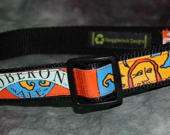 Adjustable Dog Collar from recycled Bell's Brewery Oberon Ale Beer Labels