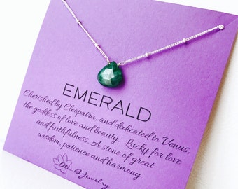 Emerald Necklace, May birthstone, gemstone meaning, symbolic, satellite chain, dark green, good luck, otis b, spiritual stone, real emeralds
