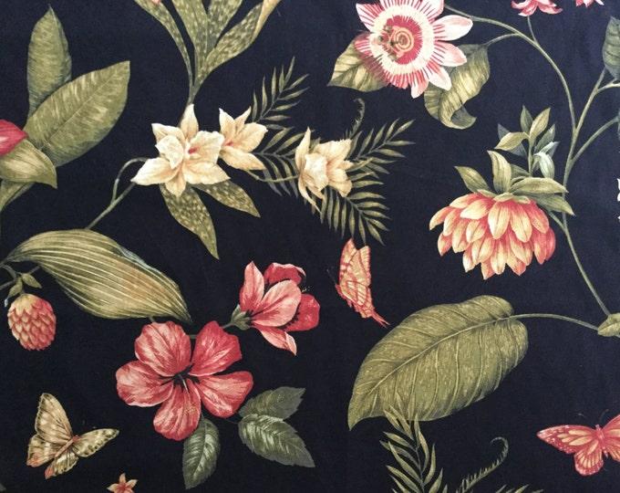 Caribbean Dawn Black Tropical Floral Drapery Home Decor Fabric