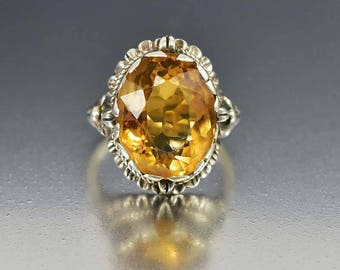 Antique Gold Citrine Ring, Sterling Silver Arts & Crafts Ring, November Birthstone Statement Ring, c. 1910 Anniversary Graduation Gift