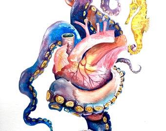 """Watercolor Painting, Original Art, Anatomical Heart, Ocean, 11""""x15"""""""