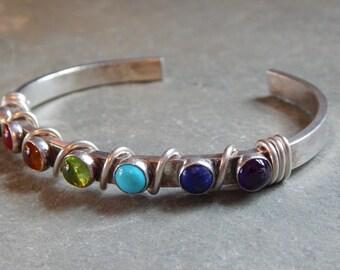 Activate Your Chakras Bracelet, garnet, carnelian, citrine, peridot, turquoise, lapis, amethyst, sterling silver bracelet, multi stone, cuff