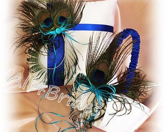 Royal blue and turquoise peacock wedding pillow and basket.  Peacock feathers ring bearer pillow and flower girl basket set.