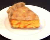Needle Felted Food - Piece of Peach Pie - Home Decor - Play Food - Life Size Slice of Pie - Needlefelt