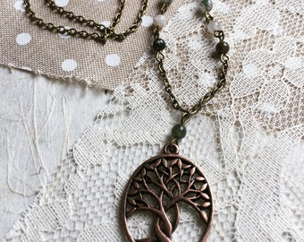 Tree of life antique brass necklace with fancy jasper accents