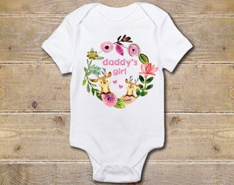 Daddy's Girl, Daddy Onesie, Daddy Shirt, Father's Day Gift, New Dad, Daddy's Little Girl, Baby Shower Gift, Deer, Woodland Creatures