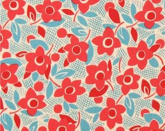 209143 tan Lecien fabric blue red flower leaf