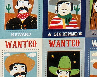 210978 colorful Alexander Henry fabric cowboy wanted poster Wanted