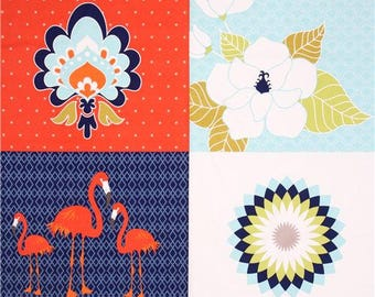 190295 Lula Panel fabric flamingo flower Riley Blake Lula Magnolia