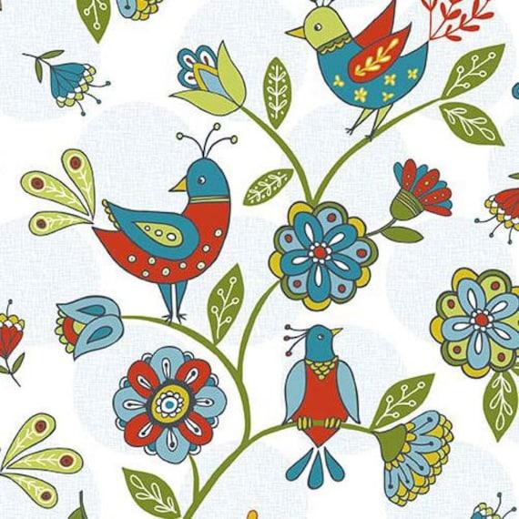 211198 white riley blake bird animal flower fabric dutch - Tessuti fiorati ...