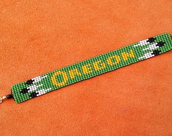 Oregon Ducks. Loom beaded bracelet. Go Ducks!