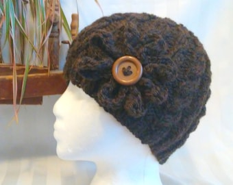 Winter Hat. Knit Cable Beanie.  Adult Knit Hat. Optional Crocheted Flower. Dark Brown. Brown Heather. Beanies for Men. Beanies for Women.