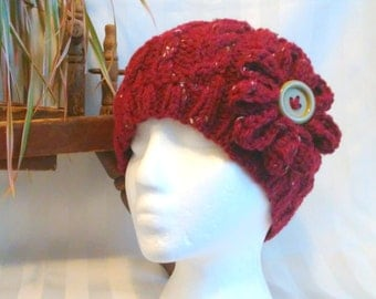 Ready to Ship. Winter Hat. Knit Cable Beanie.  Knit Hat. Optional Crochet Flower. Maroon Tweed. Dark Red. Flecks of Tan and Brown. Woman Hat
