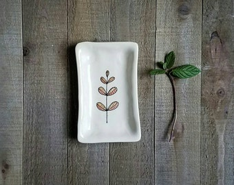 Small leaf tray, hand drawn pink leaf dish, small spoon rest, leaf home decor.