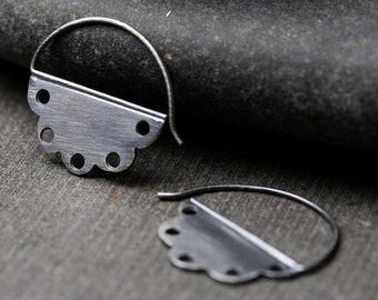 oxidized sterling silver or two tone 18k yellow gold and sterling silver lace hoop earrings