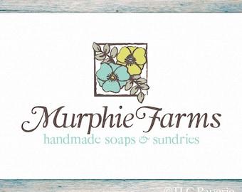 Floral Logo, Bath Beauty Logo, Soap Logo, Farm Logo, Custom Logo, Photography Logo, Florist Logo, Premade Logo, Garden Logo