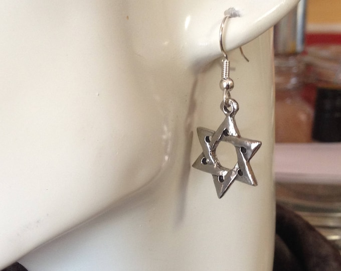 Star of David earrings made with Australian Pewter and Surgical Steel hook