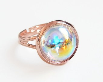 Crystal bubble ring on rose gold - rose gold ring - rose gold jewelry -pink gold - clear ab - rainbow crystal - iridescent crystal