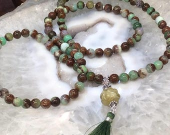 50% Mega Sale Chrysoprase & Aquamarine Guru Bead Mala Necklace - All Natural