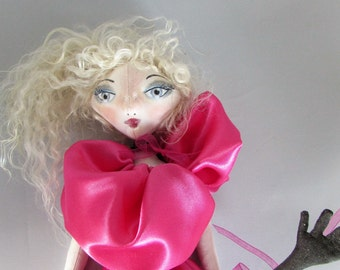 Couture Fashion Art Doll, soft sculpture rag doll, made in the USA