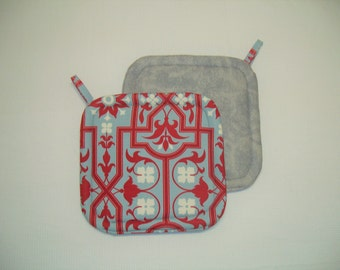 Contemporary Red and Gray Quilted Potholders, Insulated Pot Holders, Modern, Set of 2 Hot Pads, Trivets, For the Cook, For the Kitchen