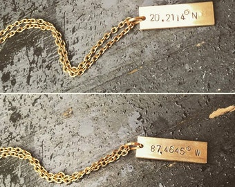 Custom Coordinates Golden Brass Plate Necklace