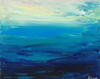 Hand embellished giclee print on CANVAS of original painting ENIGMATIC SEA by Tatiana Iliina