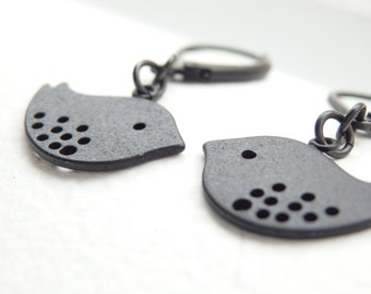 Love Bird Matte Black Earrings