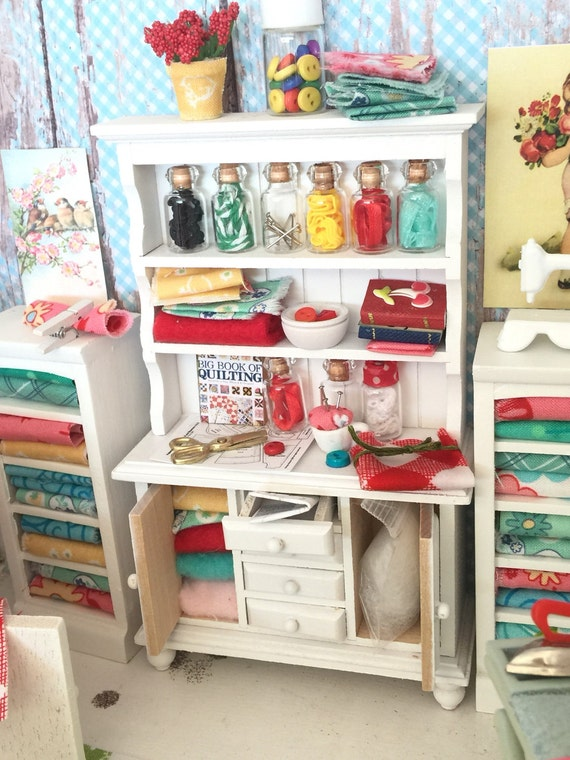 Miniature Dollhouse Sewing Hutch and shelves